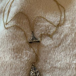 Long gold bell necklace